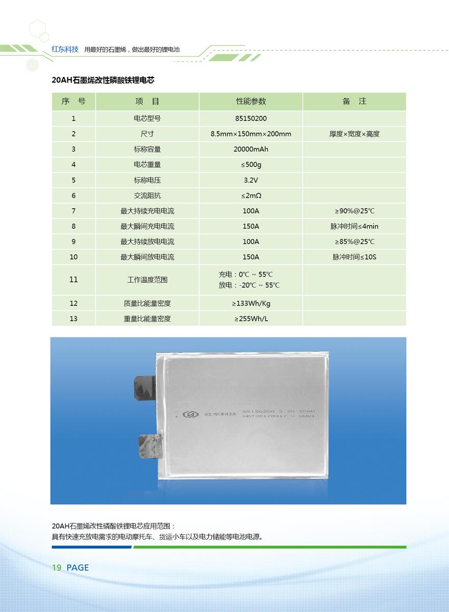 20AH石墨烯改性磷酸铁锂电芯
