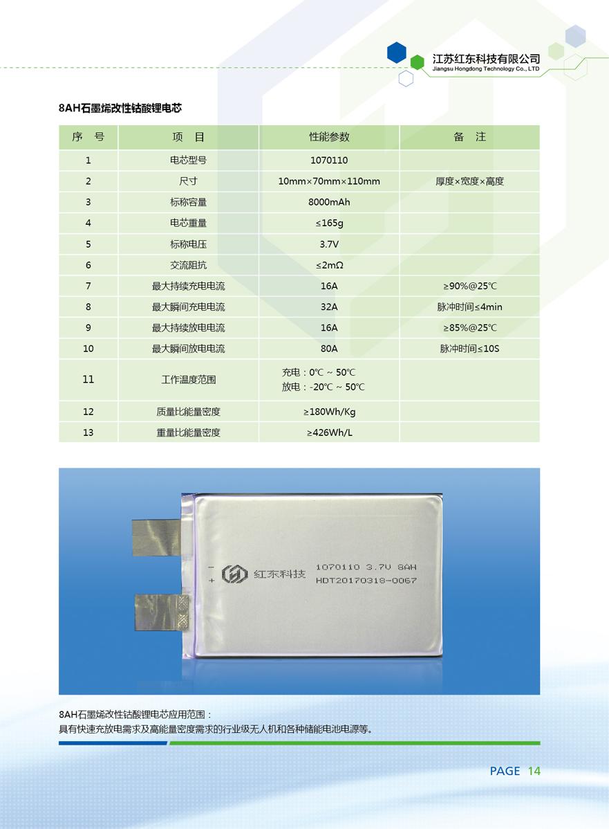 8AH石墨烯改性钴酸锂电芯