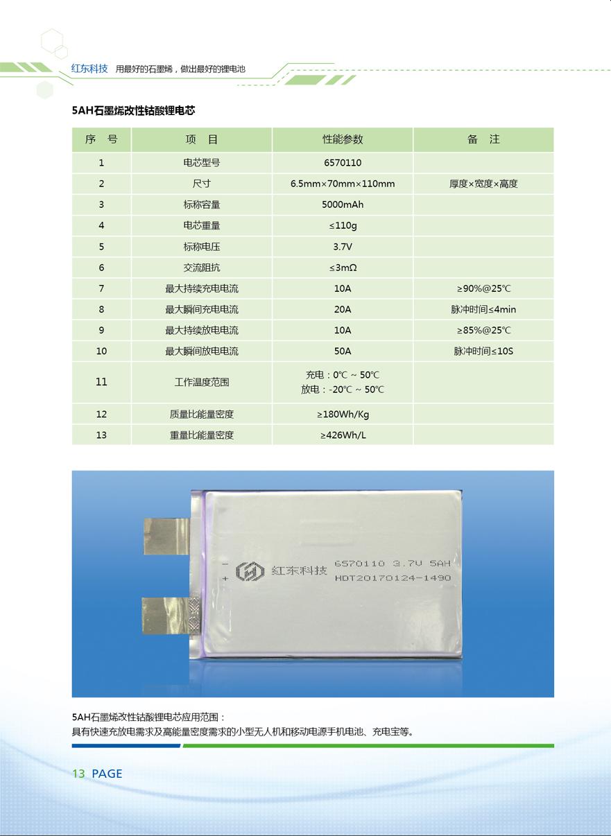 5AH石墨烯改性钴酸锂电芯
