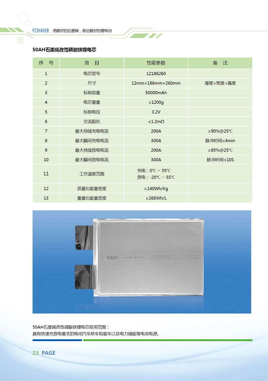 50AH石墨烯改性磷酸铁锂电芯